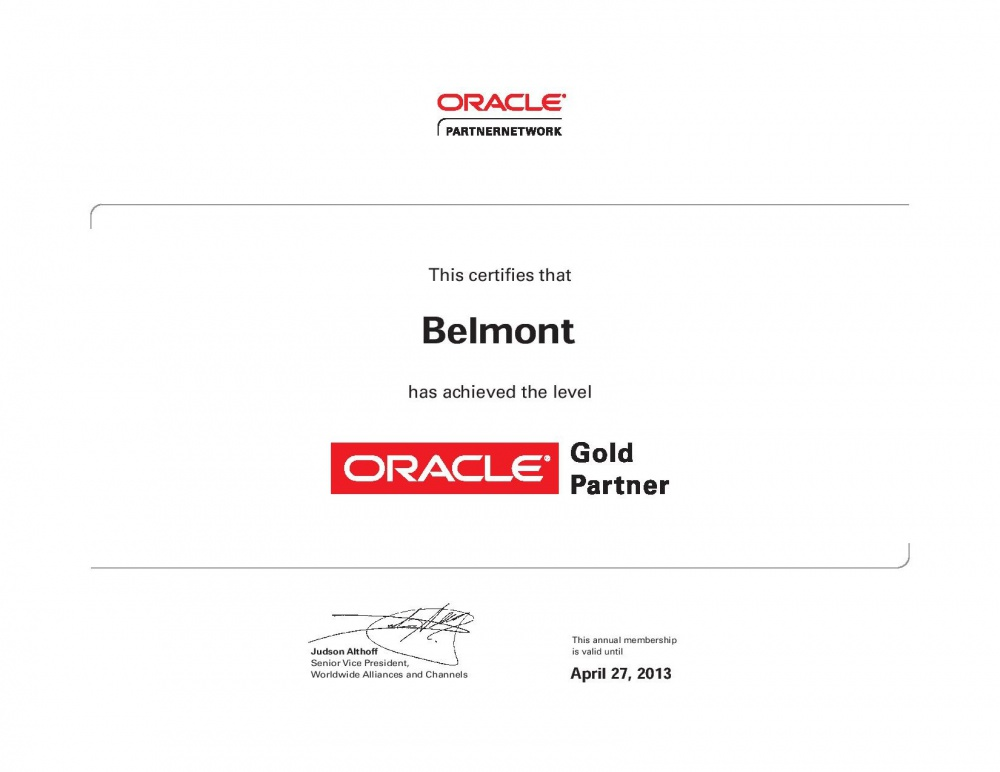 Партнерский статус компании Belmont - Oracle Gold Partner